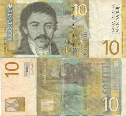 Jugoslávie - 10 dinárů - bankovka