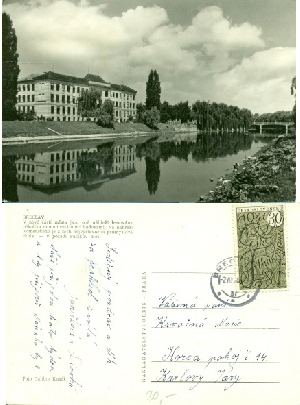 Břeclav - průmyslová škola - pohlednice, foto Dalibor Kusák