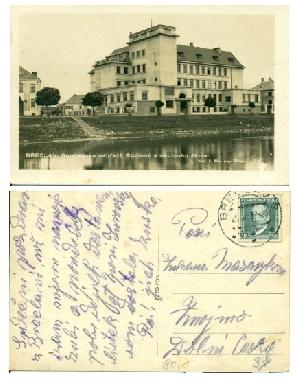 Břeclav - Smetanovo nábřeží. Rodinná a obchodní škola - pohlednice, Foto Fon, Praha